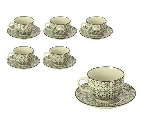 juego de 6 tazas con plato - trama hindu blanco y negro