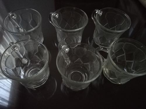 juego de 6 tazas de cristal para café capuchino