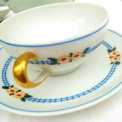 Juego de 6 tazas de te porcelana limoges france for Juego de tazas de te