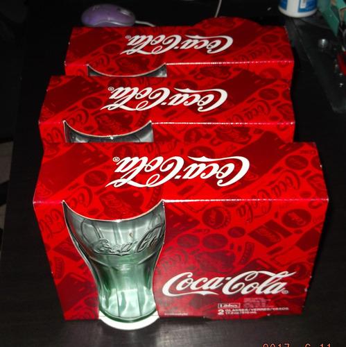 juego de 6 vasos coca-cola libbey