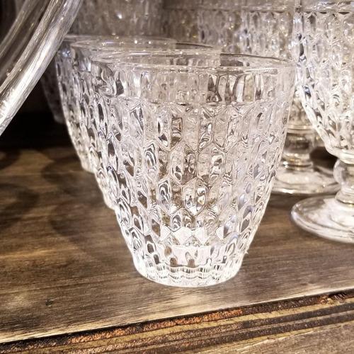 juego de 6 vasos de vidrio labrados panal color cristal