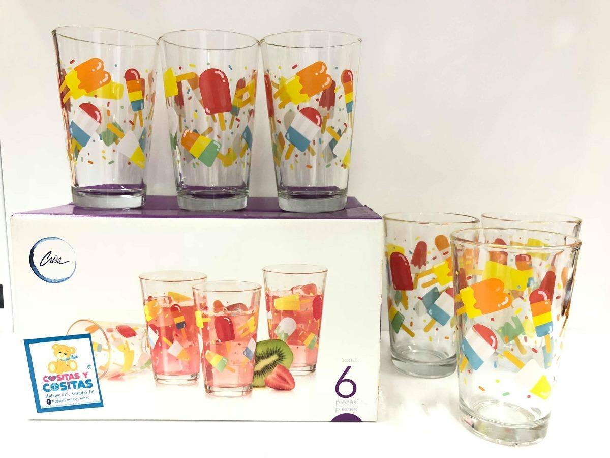 Juego De 6 Vasos Para Beber Estampado Paletas Crisa Libbey 94 00