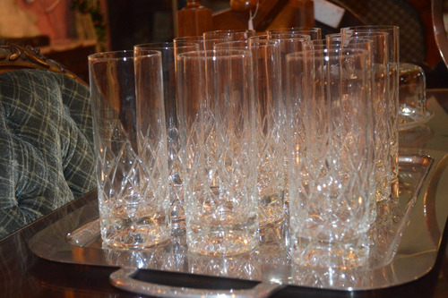 juego de 6 vasos trago largo cristal talla reja