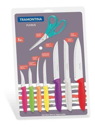 juego de 7 cuchillos y tijera plenus 8 piezas tramontina
