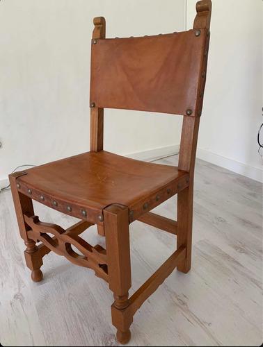 juego de 8 sillas antiguas de madera y cuero