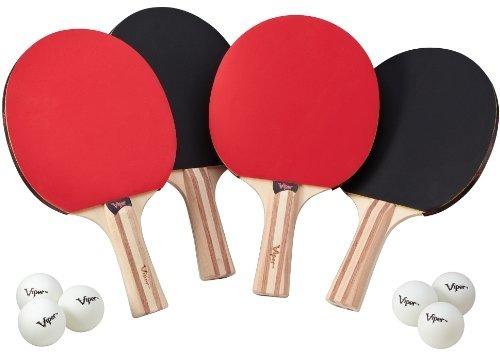 juego de accesorios de tenis de mesa viper, 4 raquetas / pal