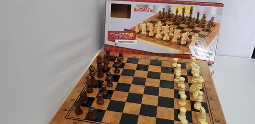 juego de ajedrez con caja y tablero de madera + backgamon