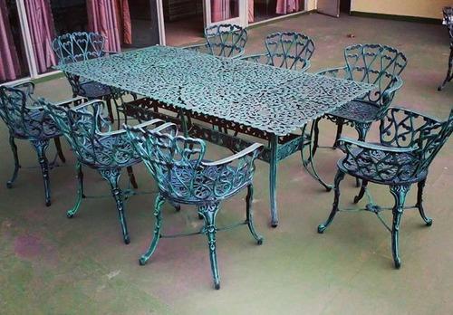 juego de aluminio boston - mesa rectangular y 8 sillones