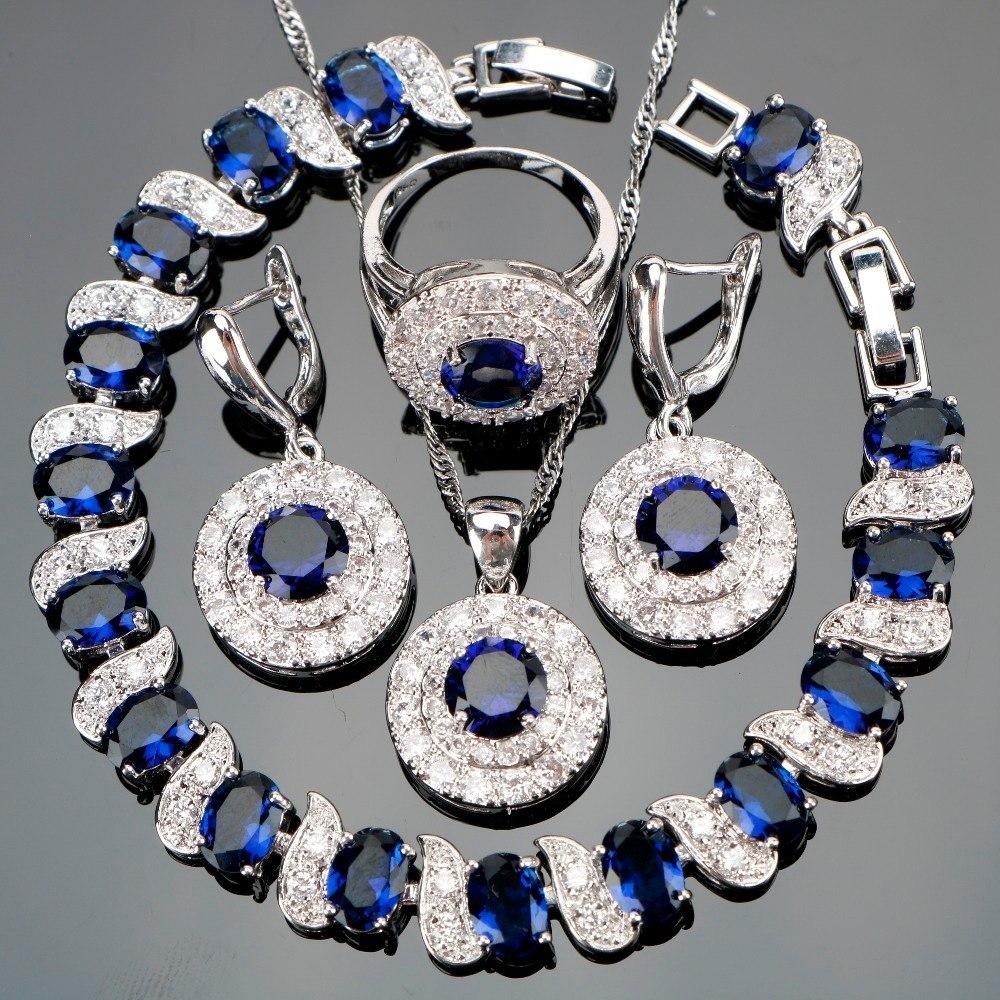 e6edb8dad2bb juego de anillo collar aretes bisuteria fina azul. Cargando zoom.
