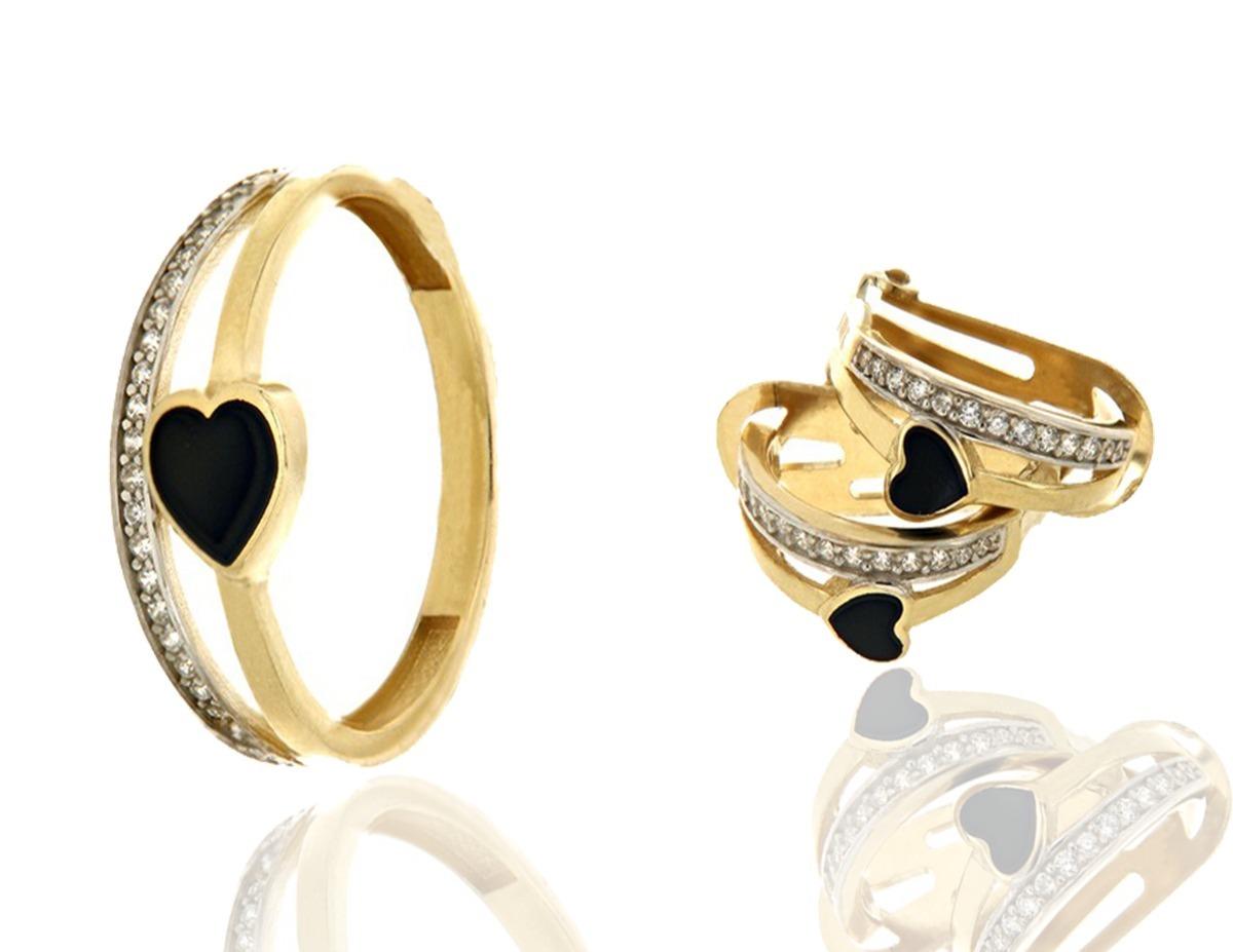 59174e88b322 juego de anillo y aretes corazón negro circonias oro 14 k. Cargando zoom.