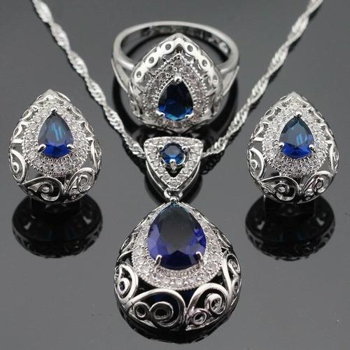 juego de aretes, anillo y collar zirconia zafiro y zirconias
