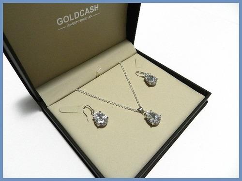juego de aretes, cadena y dije con diamante oro plata acc