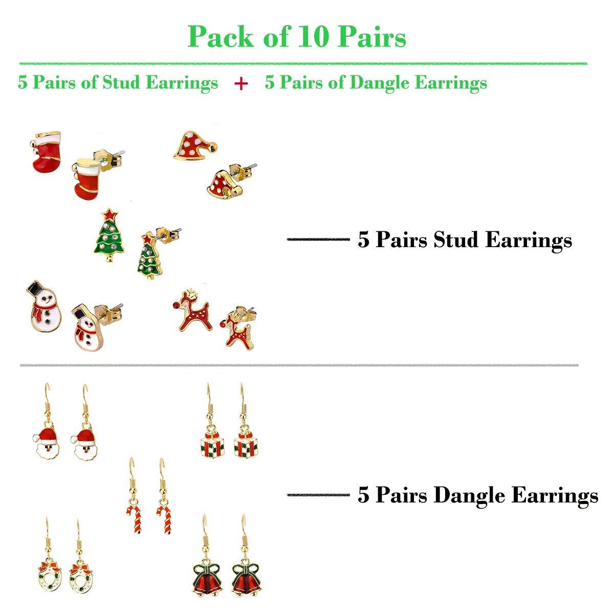 Juego De Aretes De Navidad Para Ninos 10 Pares Regalos De