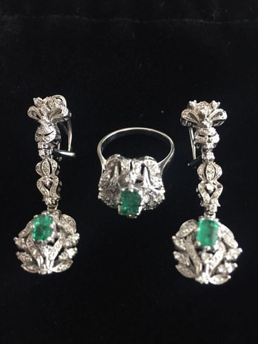 juego de aretes y anillo oro blanco 14k y esmeraldas