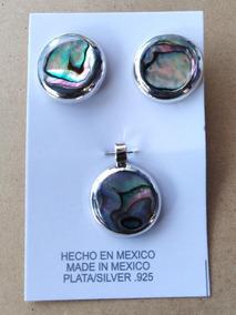 sr-59 8 x 11 mm Paua abalone madreperla 925 pendientes de plata