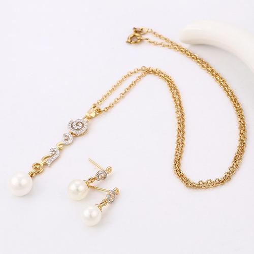 juego de aretes y dije perla colgante oro laminado+ obsequio