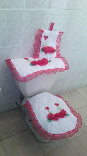 juego de baño bordado de listón,3 piezas