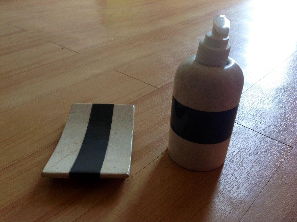 Juego De Baño Color Beige:Juego De Baño De 6 Piezas En Mármol Y Onix Color Beige-negro – $ 549