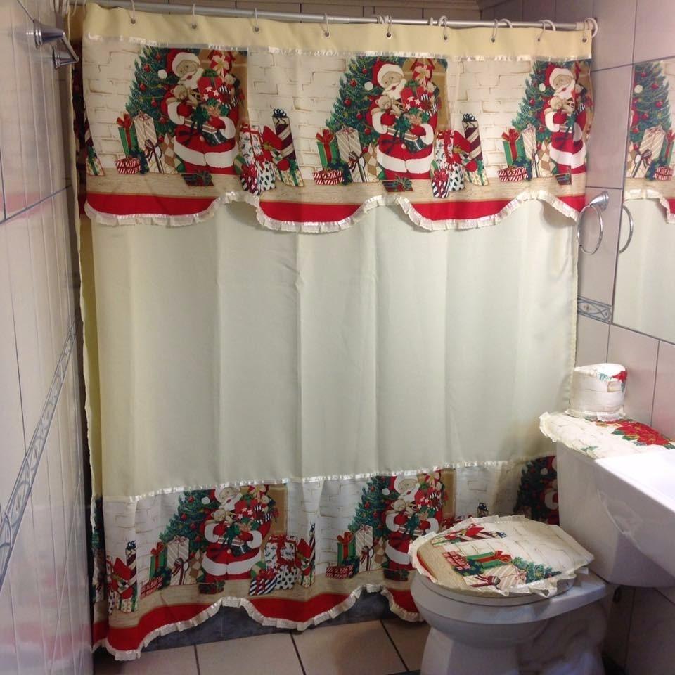 Juego de ba o navide o dise o viejo pascuero for Estanque wc plastico