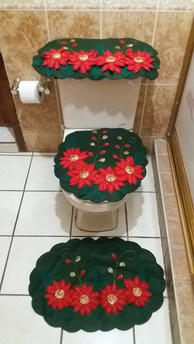 Baño Navideno Navidad:Juego De Baño Navideño En Fieltro Noche Buena – $ 95000 en Mercado