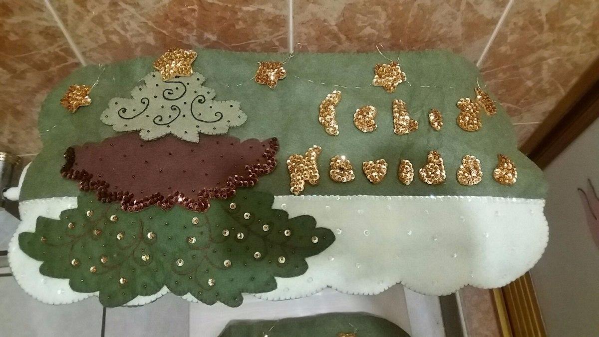 Juegos De Baño Fieltro Navidad:Juego De Baño Navideño En Fieltro Pino – $ 95000 en Mercado Libre
