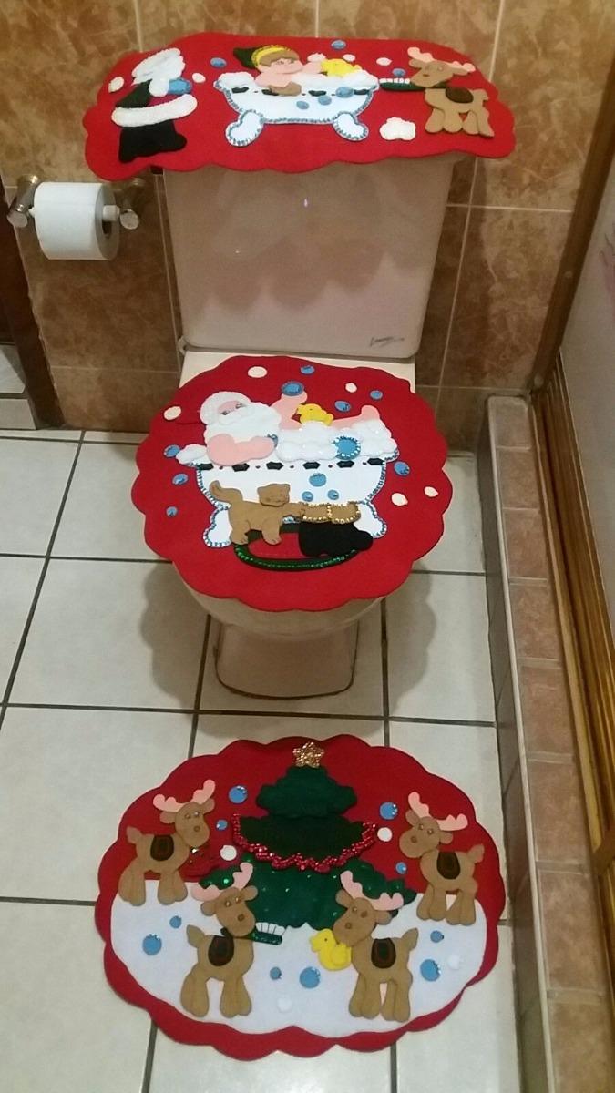Baño Navideno Navidad:Juego De Baño Navideño En Fieltro Renos – $ 95000 en Mercado Libre