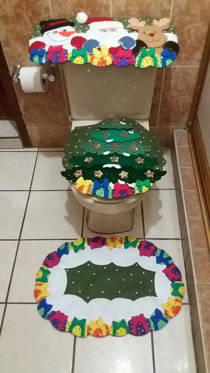 Juego De Baño Navideno De Fieltro:Juego De Baño Navideño En Fieltro Santa Claus – $ 95000 en Mercado