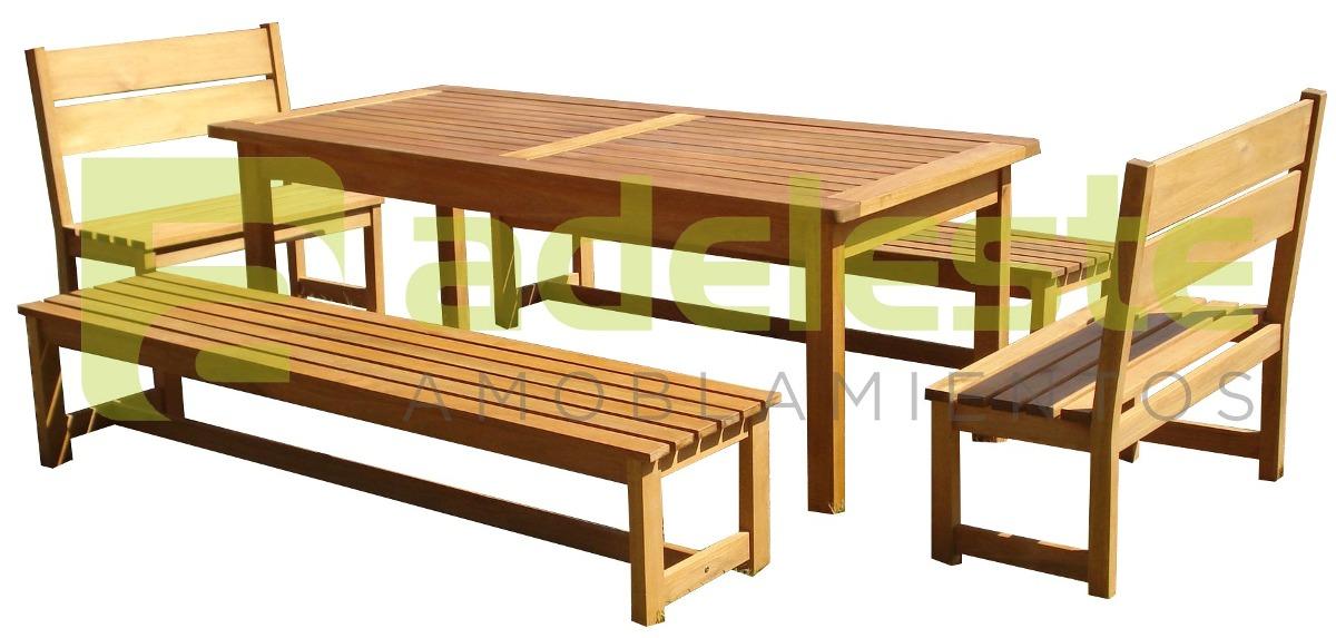 Juego de barbacoa o comedor mesa con 4 bancos para for Banco para mesa de comedor