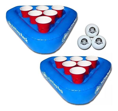 juego de beer pong flotante gopong pool pong rack