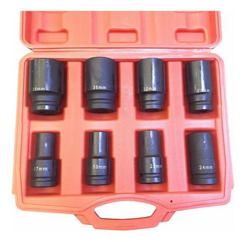 juego de bocallaves 3/4 alto impacto - 8 pcs de 17 a 38 mm
