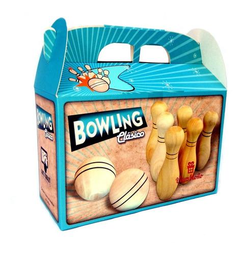juego de bowling clasico de madera bolos planeta juguete