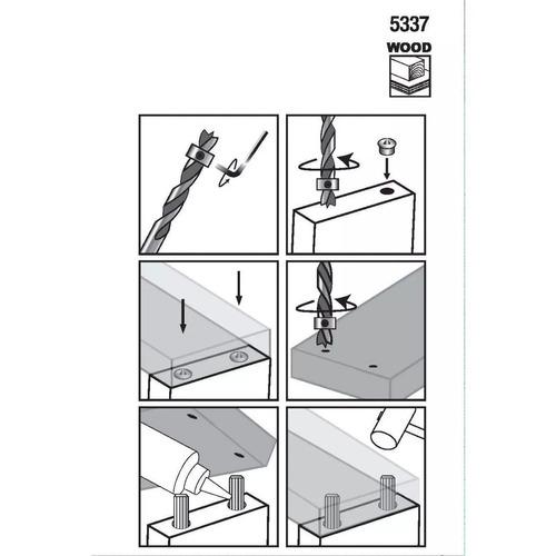 juego de broca de 1/4, collarín y centradores p/ carpintero