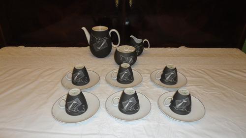 juego de cafe bavaria antiguo diseño con aves y jaulas vealo