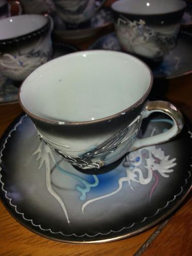 juego de café  dragones  en relieve