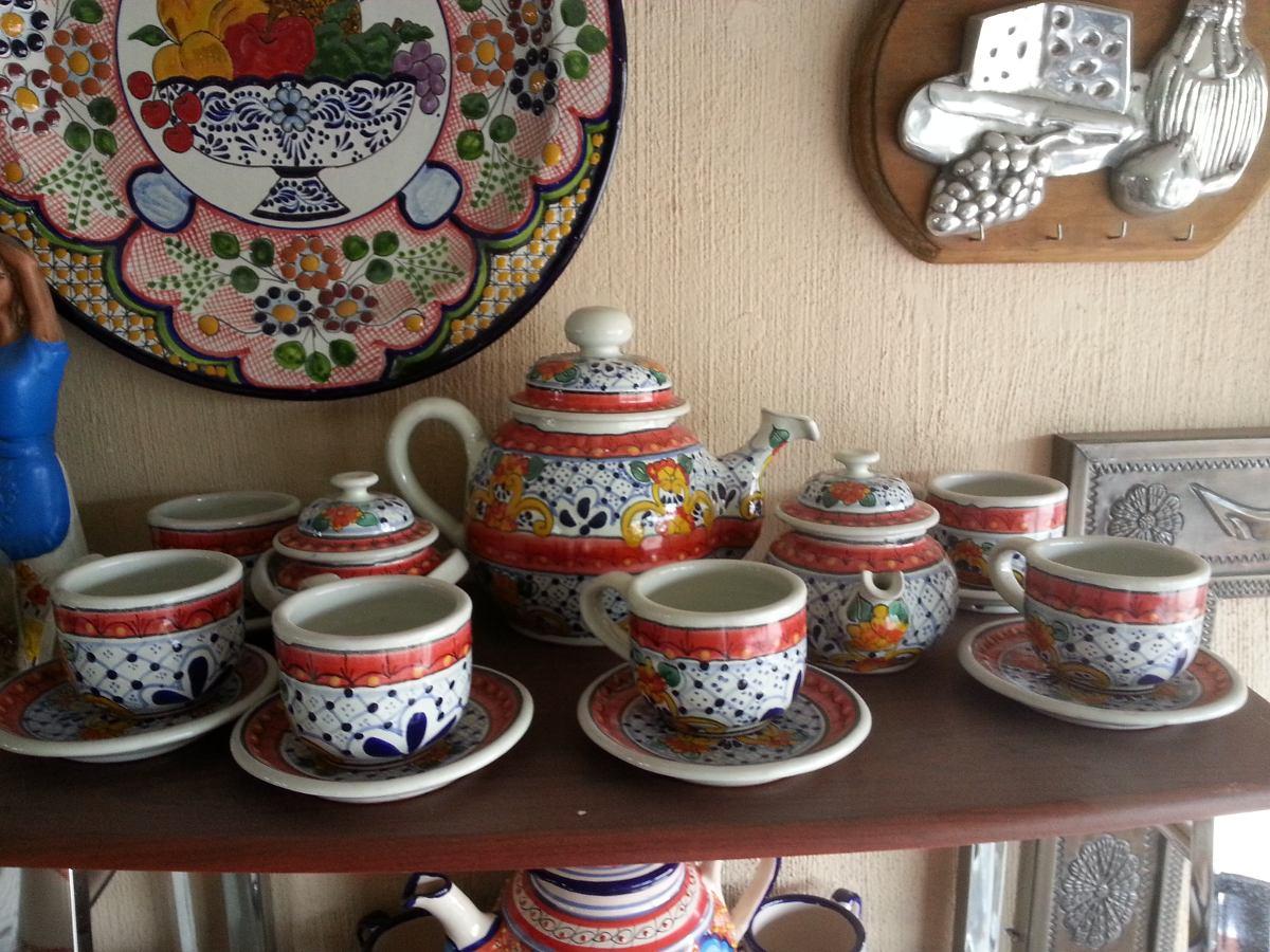 Juego de cafe en talavera poblana original para 6 personas for Juego tazas cafe