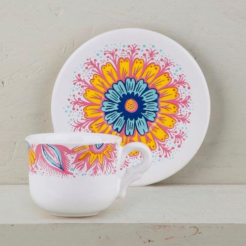 juego de café pocillo de diseño de cerámica decorada | cp
