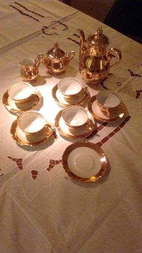 juego de café porcelana bavaria baño oro