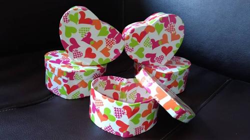 juego de cajas decorativas en forma de corazon. 5 piezas