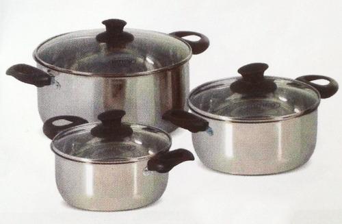 juego de calderos acero inoxidable util / umco / 6 piezas