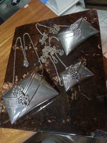 juego de carteras antiguas hindues bronce con baño de plata