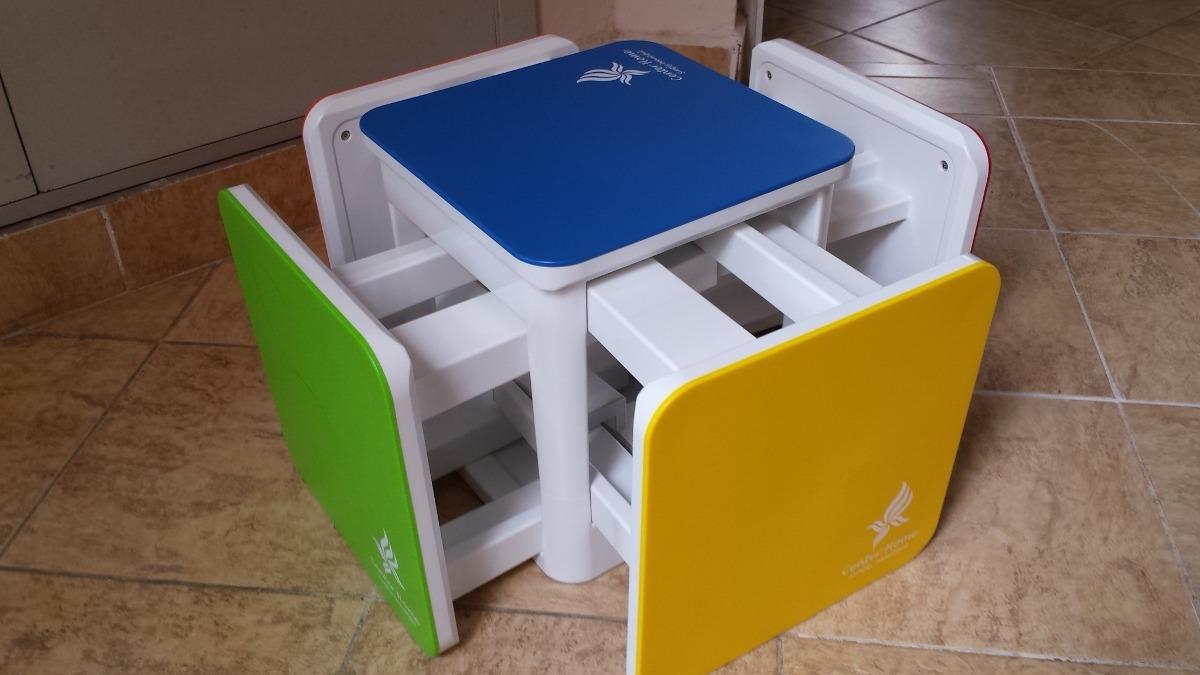 Juego de cinco bancos mesa para ni os juntos en un cubo - Mesas pequenas para ninos ...