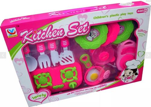 juego de cocina grande 15 piezas set comida juguete niña