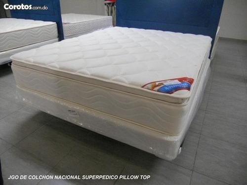 juego de colchon nacional superpedico con doble pillow top