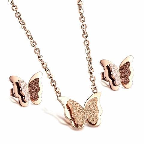 juego de collar mariposa mas aretes oro rosa