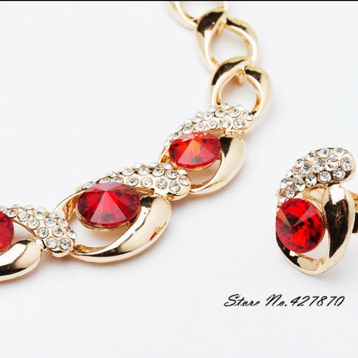 31424d88aed8 juego de collar oro 18k + pendientes + pulsera + anillo. Cargando zoom.