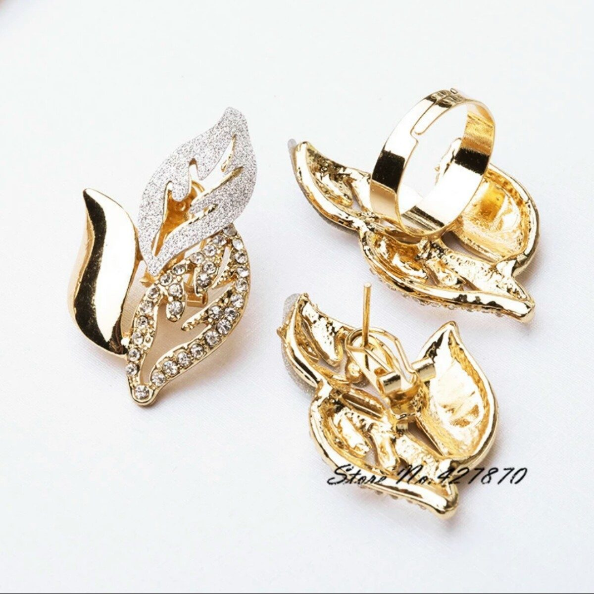 2699a1ffa045 juego de collar oro + pendientes + pulsera + anillo. Cargando zoom.