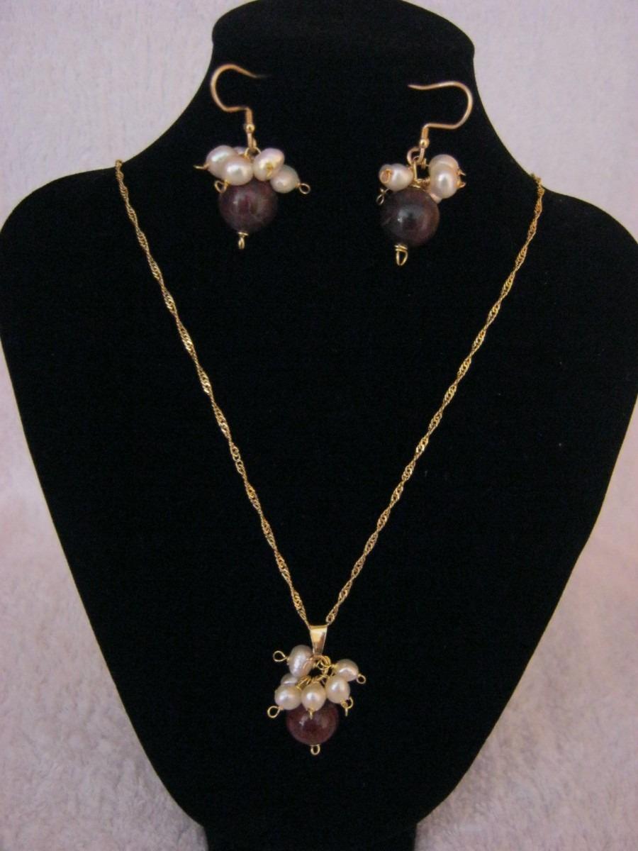 juego de collar y zarcillos, perlas y piedras semipreciosas
