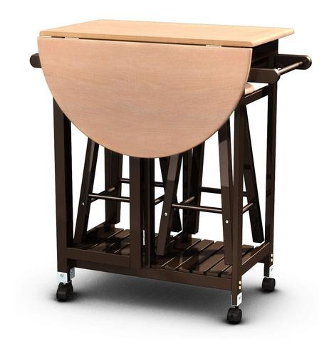 juego de comedor 3 piezas mesa plegable y ruedas - importada
