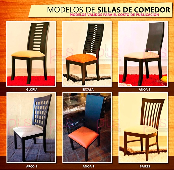 Juego de comedor 4 ptos varios modelos de sillas en madera for Modelos de sillas de madera para comedor