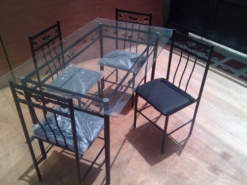 juego de comedor 4 puestos mesa de vidrio